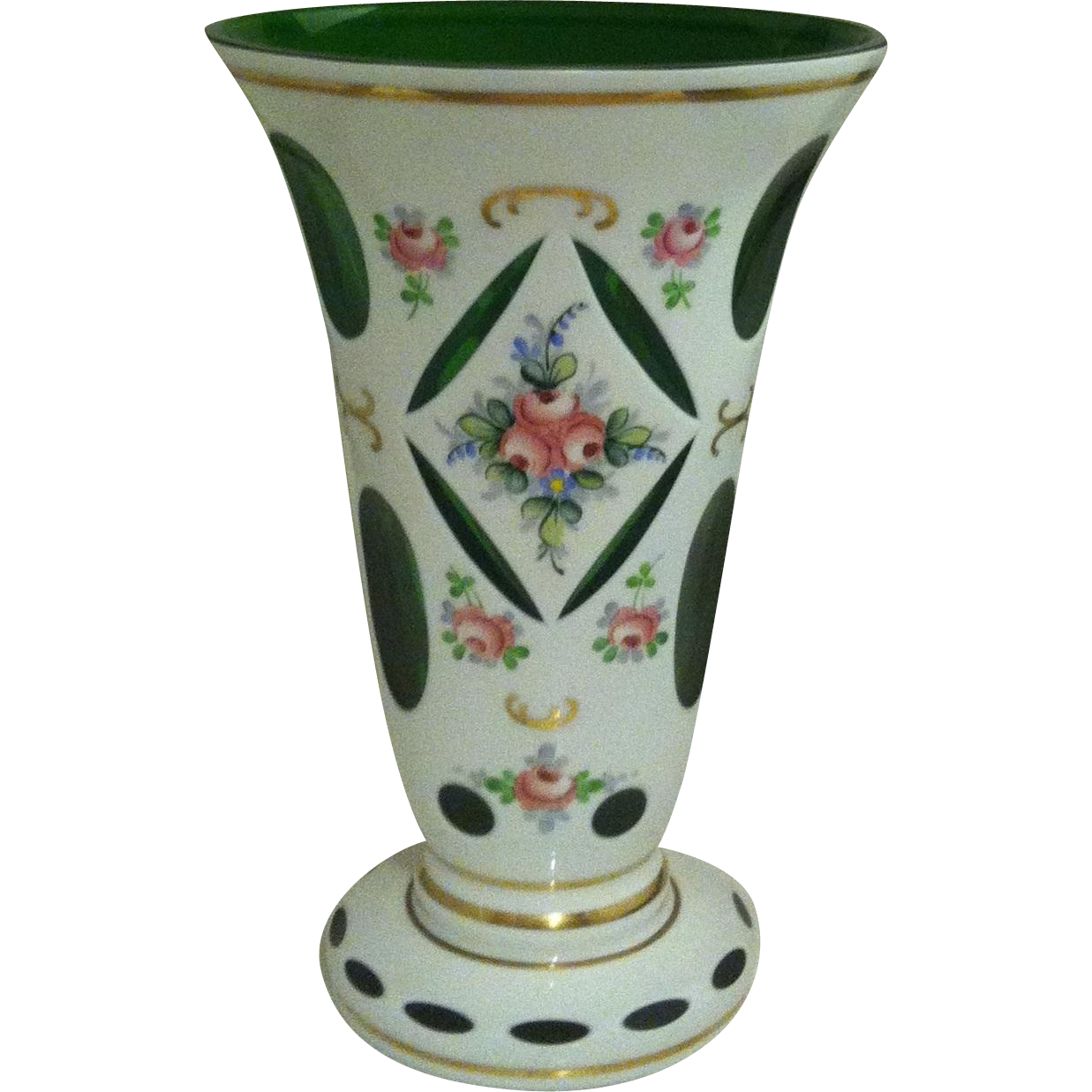 Bohemian Large Overlay White  Cut to Emerald Vase