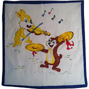 Bunnies Playing Music Child's Handkerchief