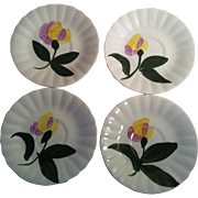 4  Yellow & Lavender Flower Saucers ~Blue Ridge
