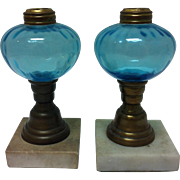 "Pair 7""  Mid 19th Century Fluid Lamps"