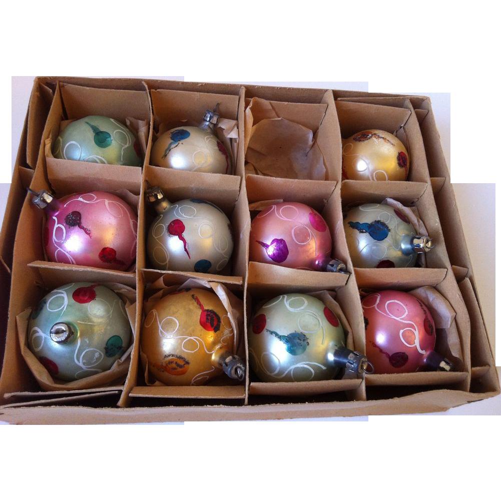 "Poland vintage 1 1/2"" Christmas Balls Set of 11"