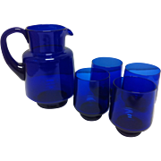 Cobalt Blue Glass Pitcher & 4 Tumblers - Red Tag Sale Item