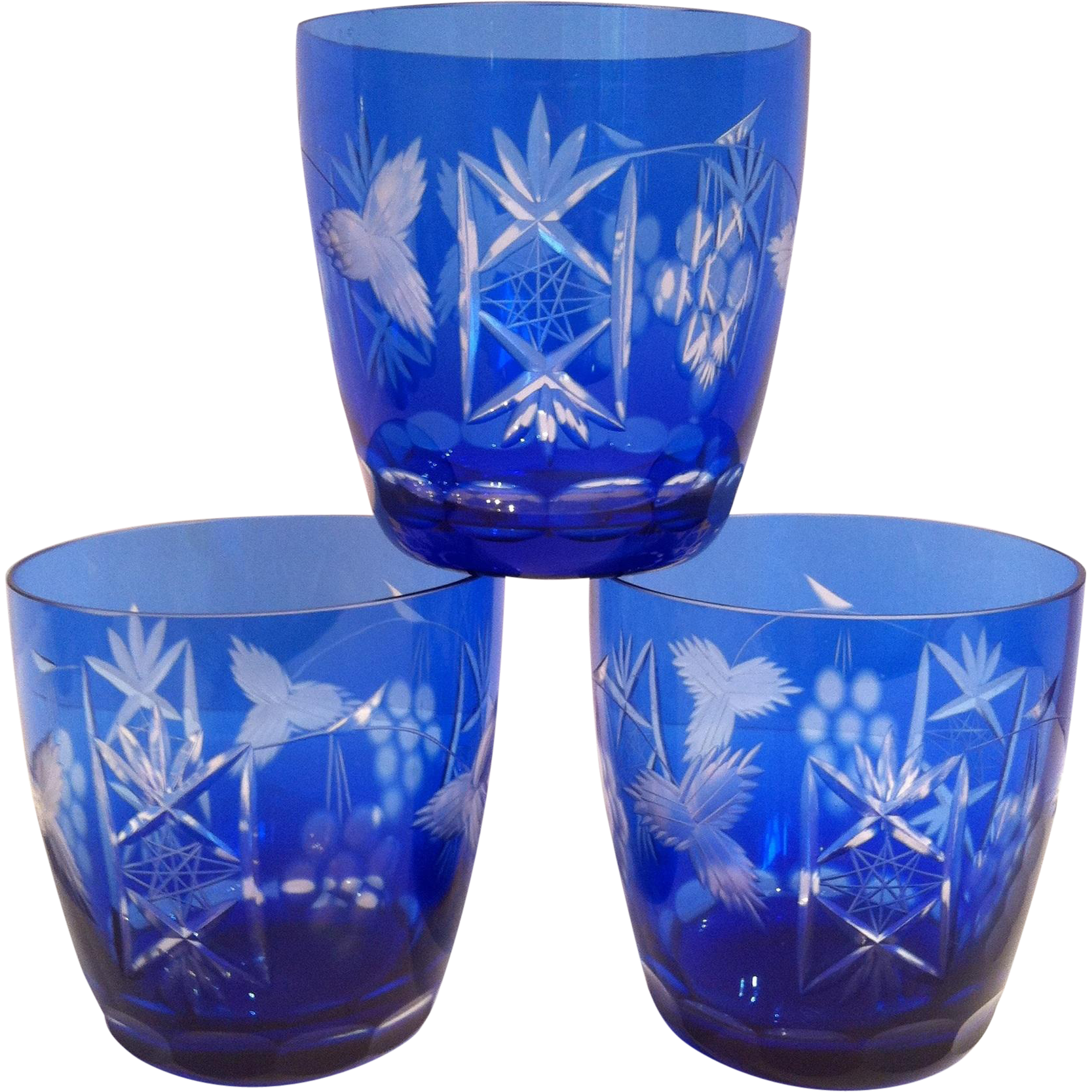 3 Cobalt Cut to Clear Old Fashioned Glasses