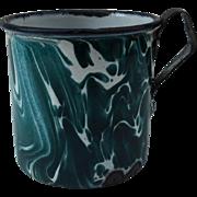 Chrysolite Green & White Enamelware Mug~ Book Piece