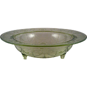 "11"" Cameo Green 3 Toed Bowl ~ Anchor Hocking"