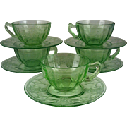5  Cup & Saucers Cameo Green ~Scroll Handle