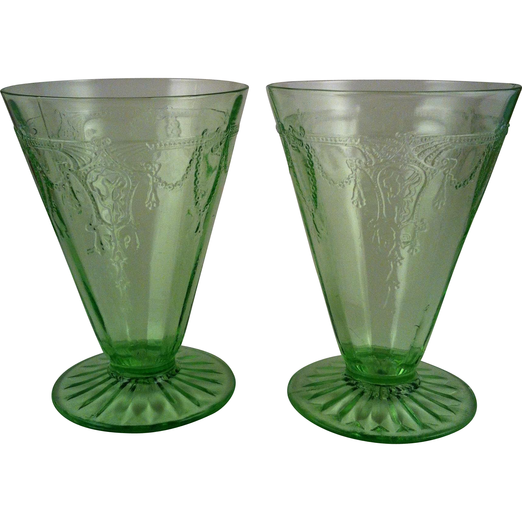 2  Cameo Green Footed Tumblers - Anchor Hocking