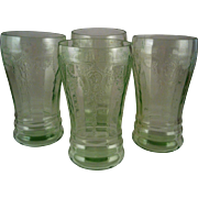 4 Cameo Green Flat Tumblers ~Anchor Hocking