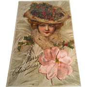 Early 1900's Christmas Postcard ~ beaded ~ applied flower