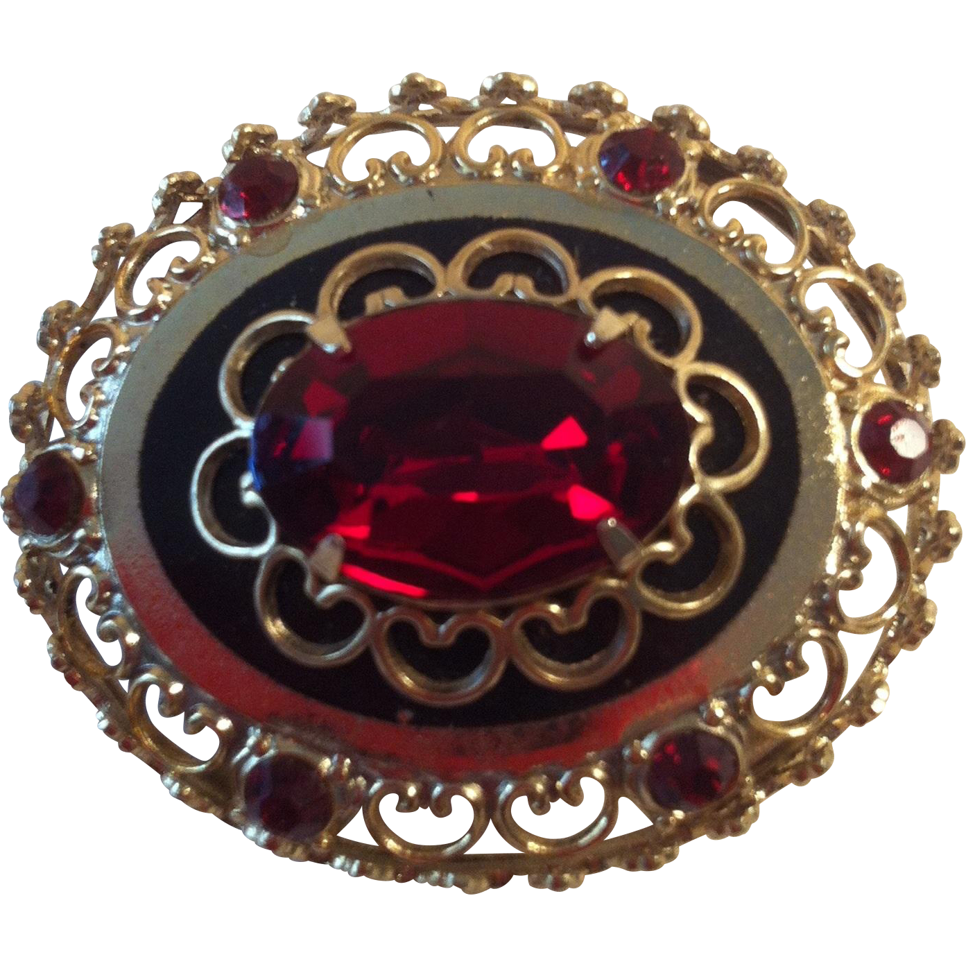 1940's Coro Red Brooch