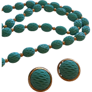Crown Trifari Aqua Thermoset Demi Parure
