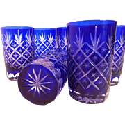 6 Cased Cobalt to Clear Tumblers