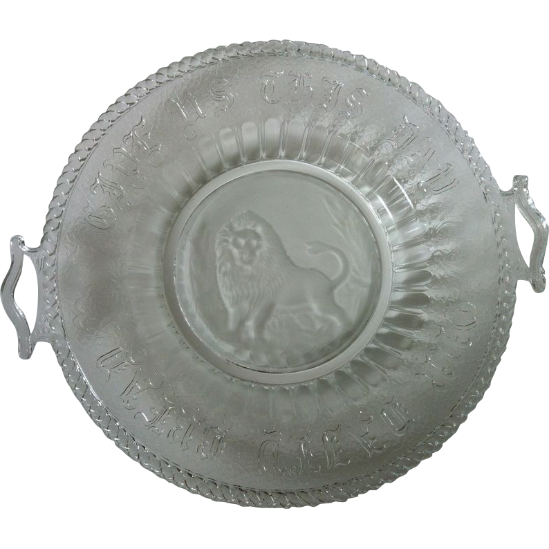 Eapg Frosted Lion Daily Bread Handled Plate