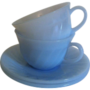 Fire King Azurite Swirl Cup & Saucer
