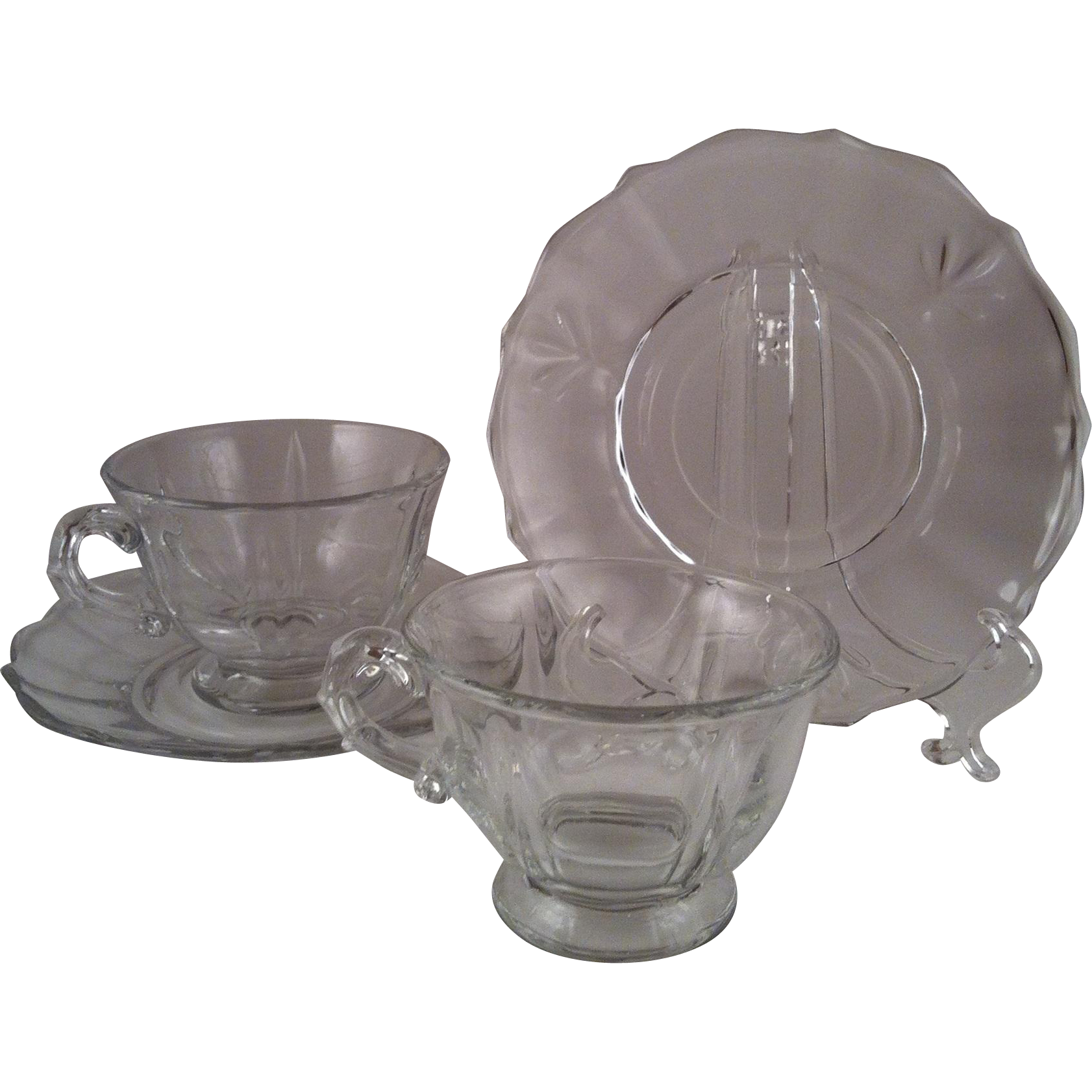 Pair Baroque Clear Cup & Saucer Sets ~ Fostoria
