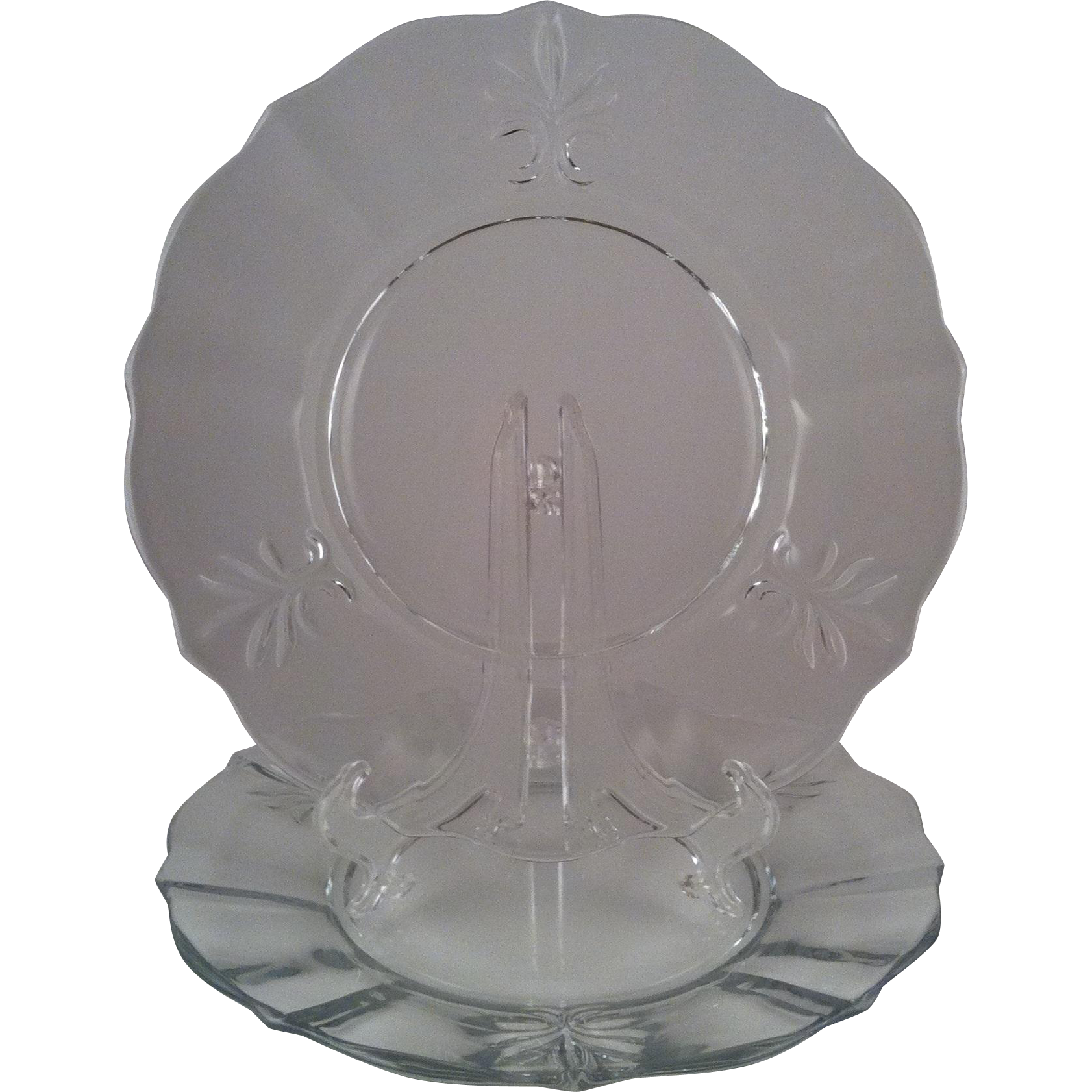 2 Baroque Clear Luncheon Plates - Fostoria