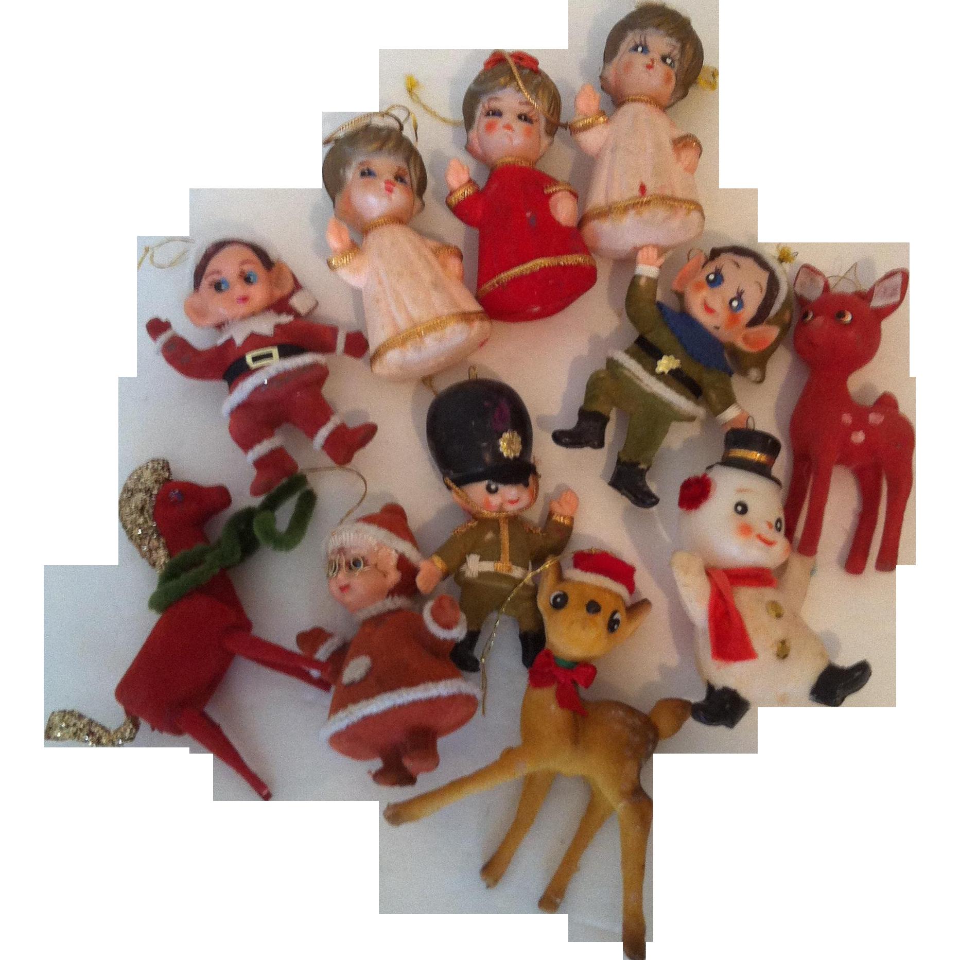 11 Flocked Vintage Christmas Ornaments
