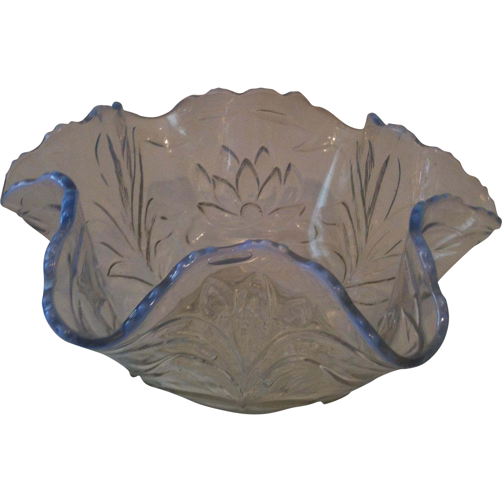 Early Fenton Clear Opalescent Waterlily & Cattail Bowl