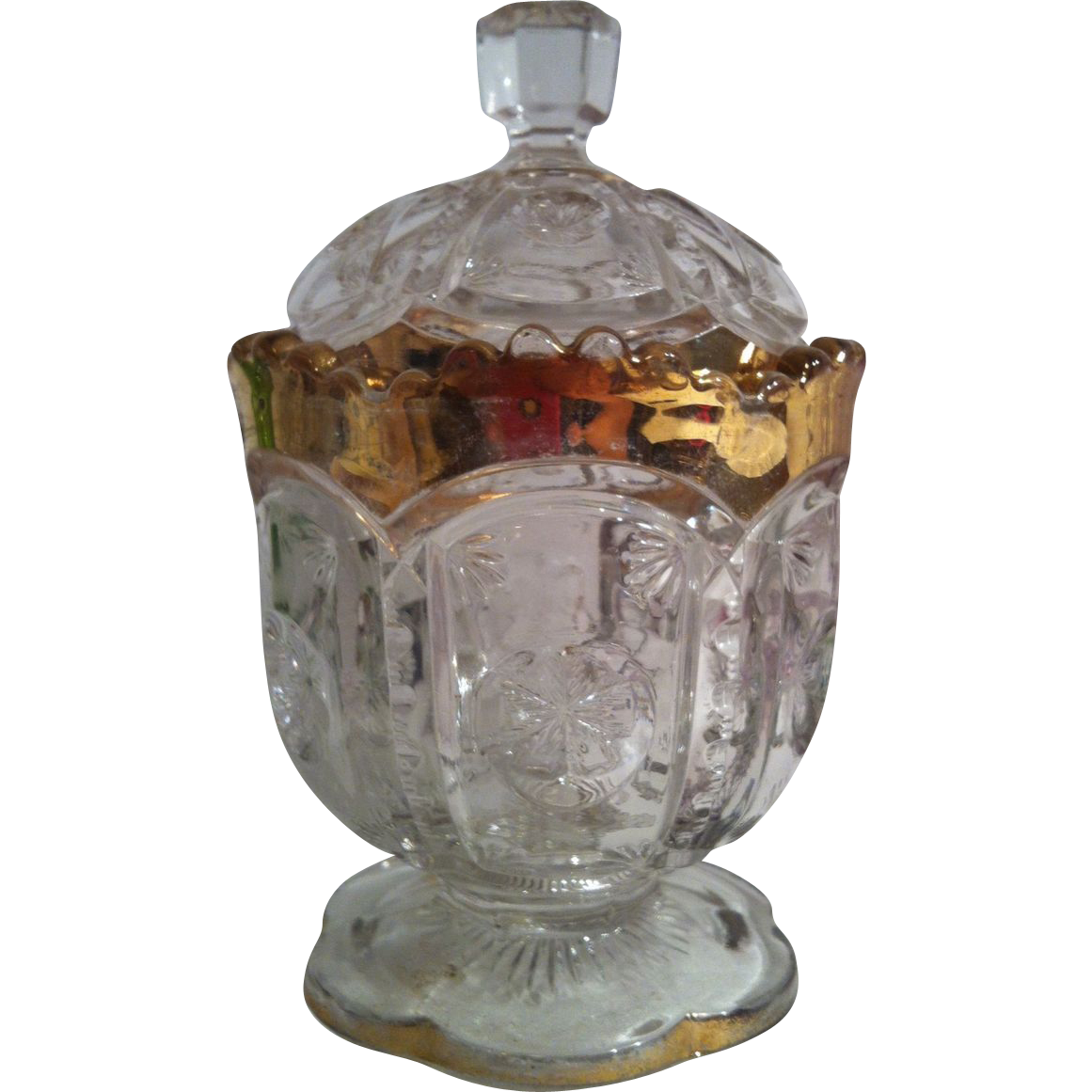Eapg Frost Crystal Sugar with Lid by Tarentum