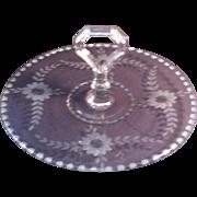 Floral Cut Handled Serving Platter ~ Clear