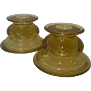 2 Federal Madrid Amber Candle Holders