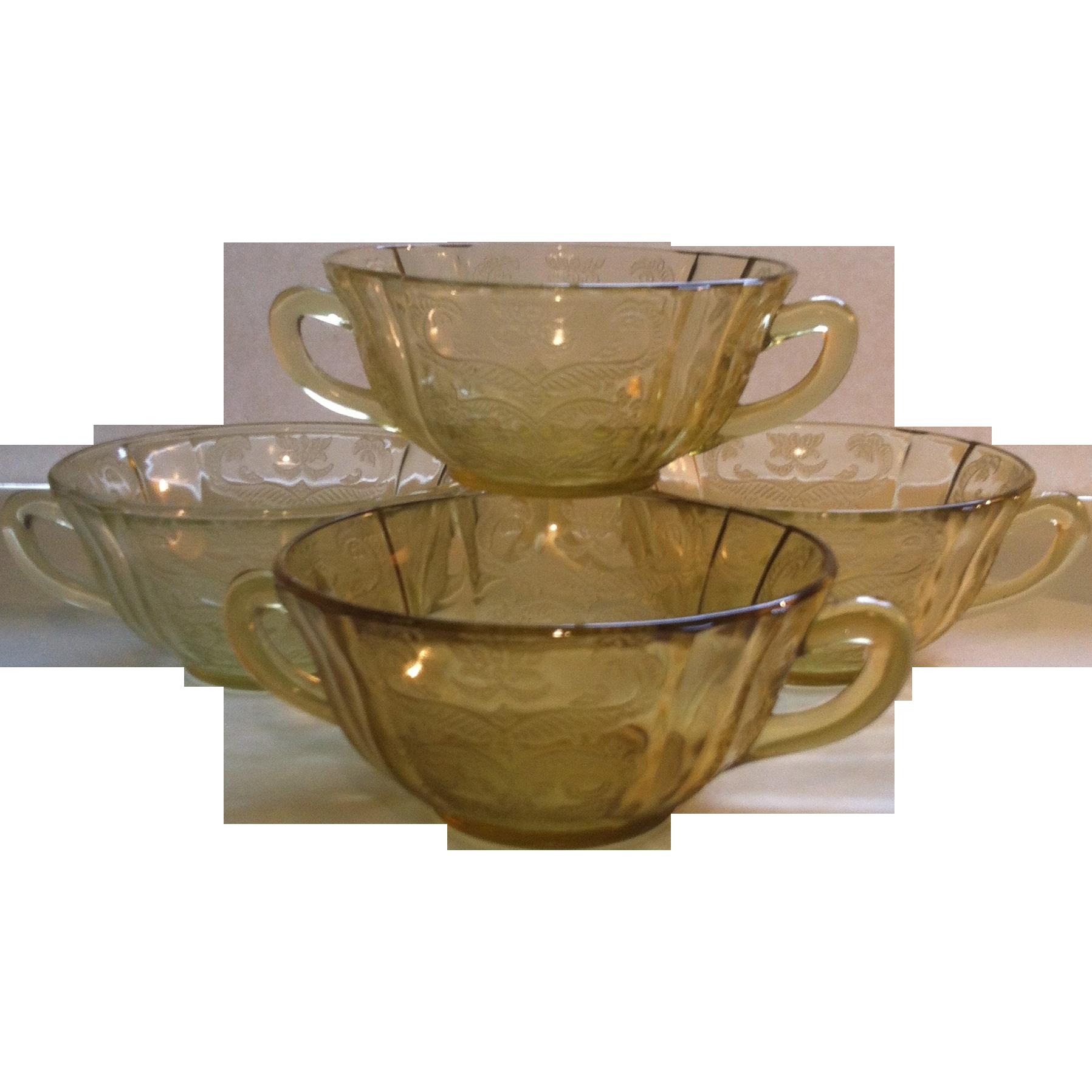 4 Federal  Madrid Amber Cream Soup Bowls