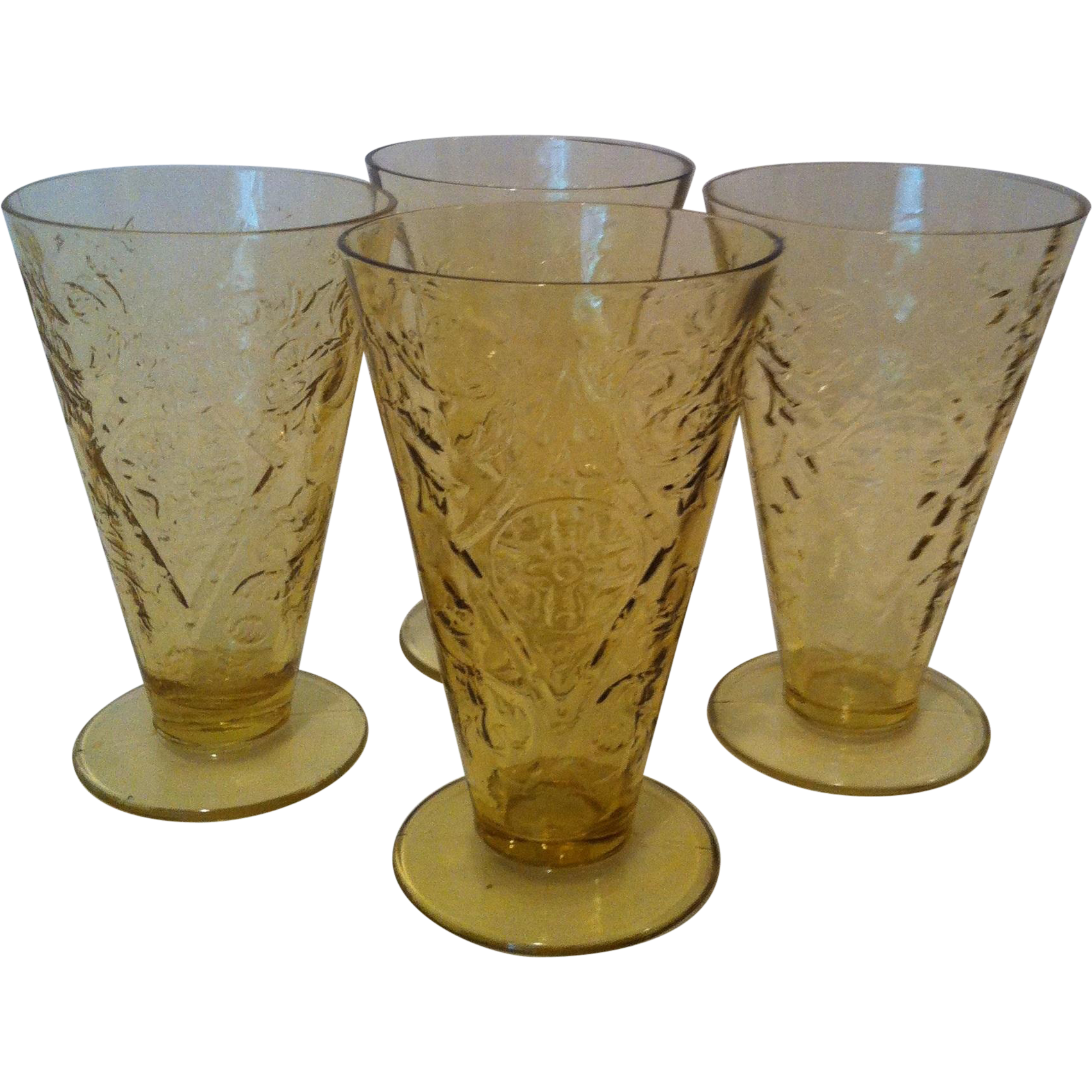 4- 10 oz Footed Cone Tumblers Madrid- Amber by Federal
