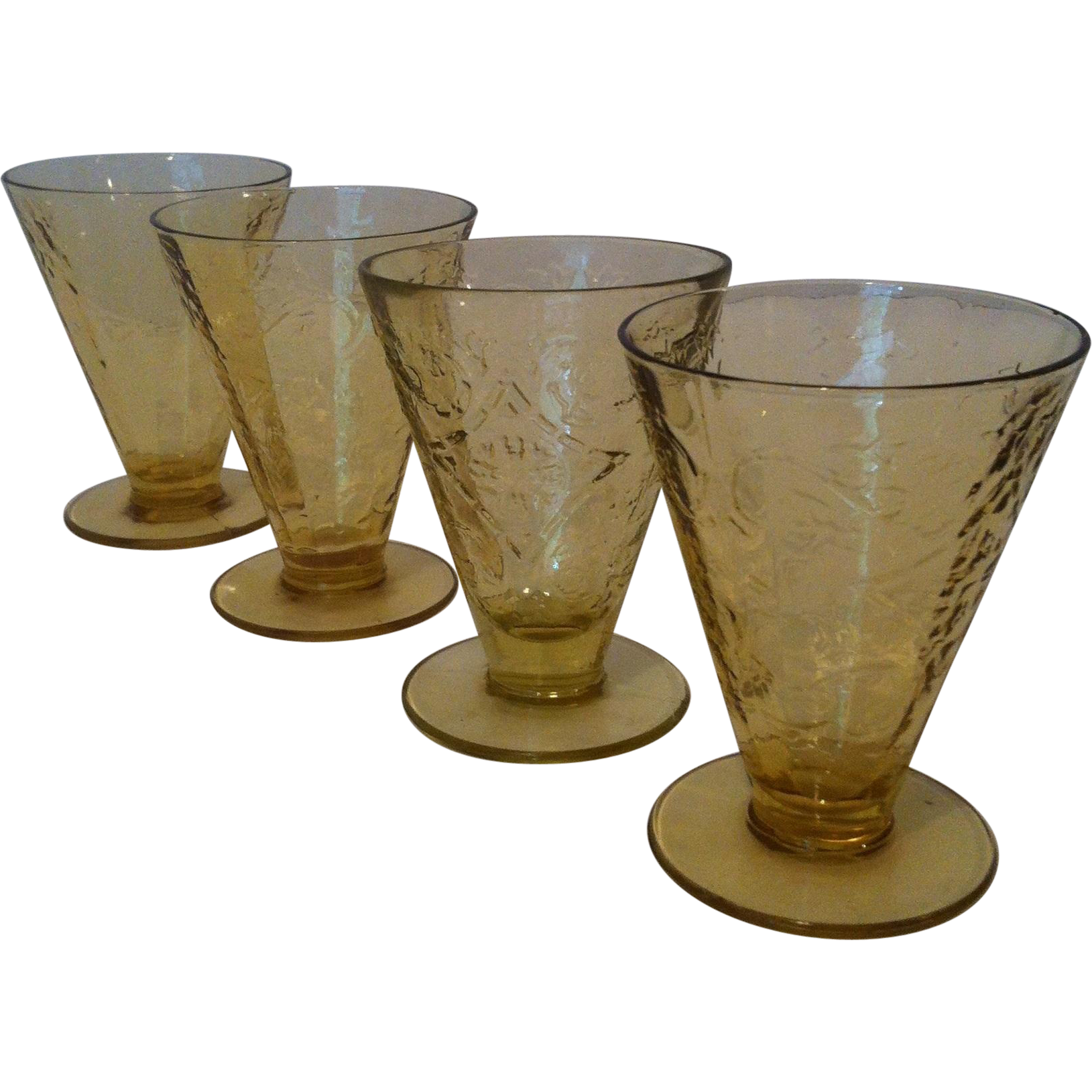 4- 5 oz Footed Cone Tumblers Madrid- Amber by Federal