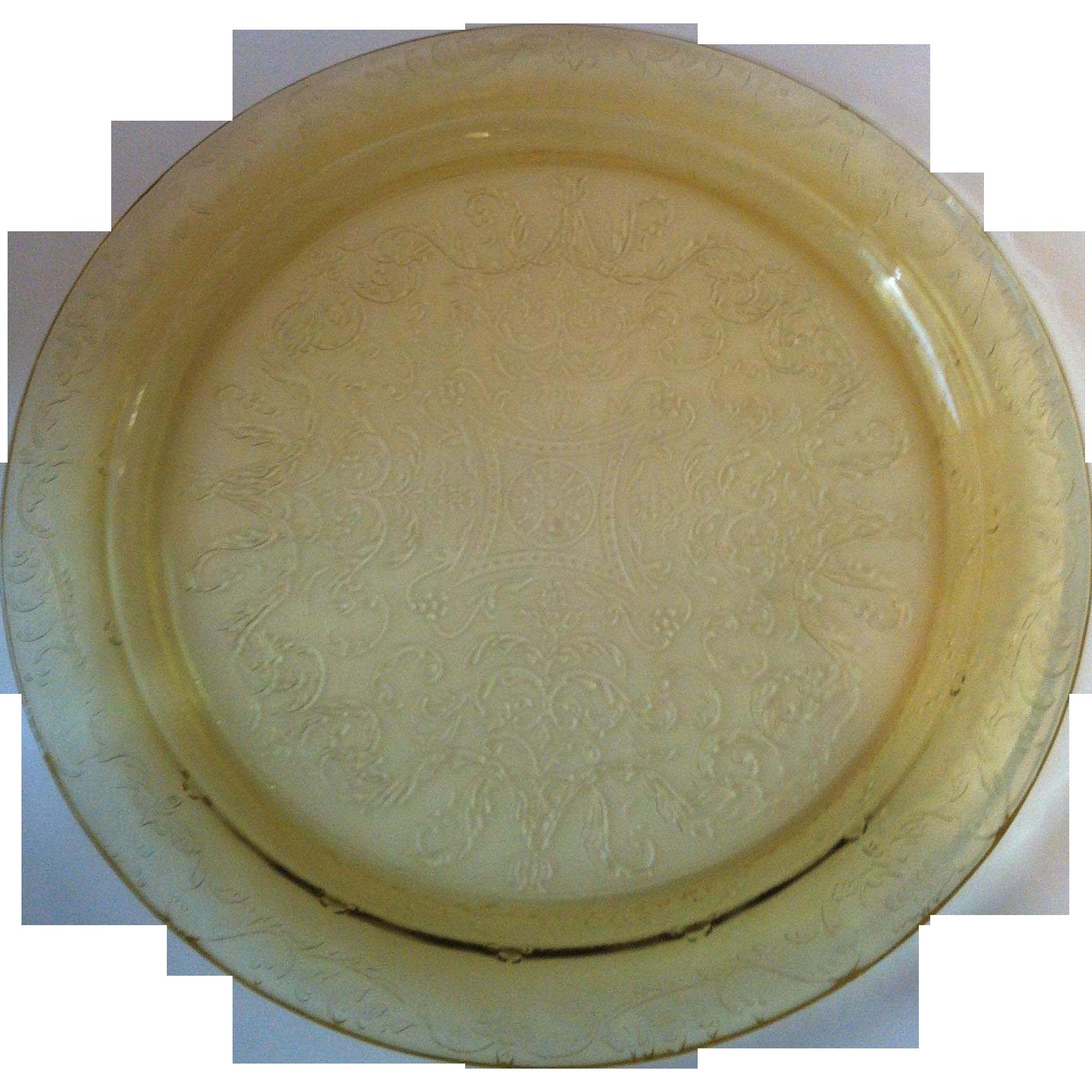 Madrid Amber Cake Plate ~ Federal Glass