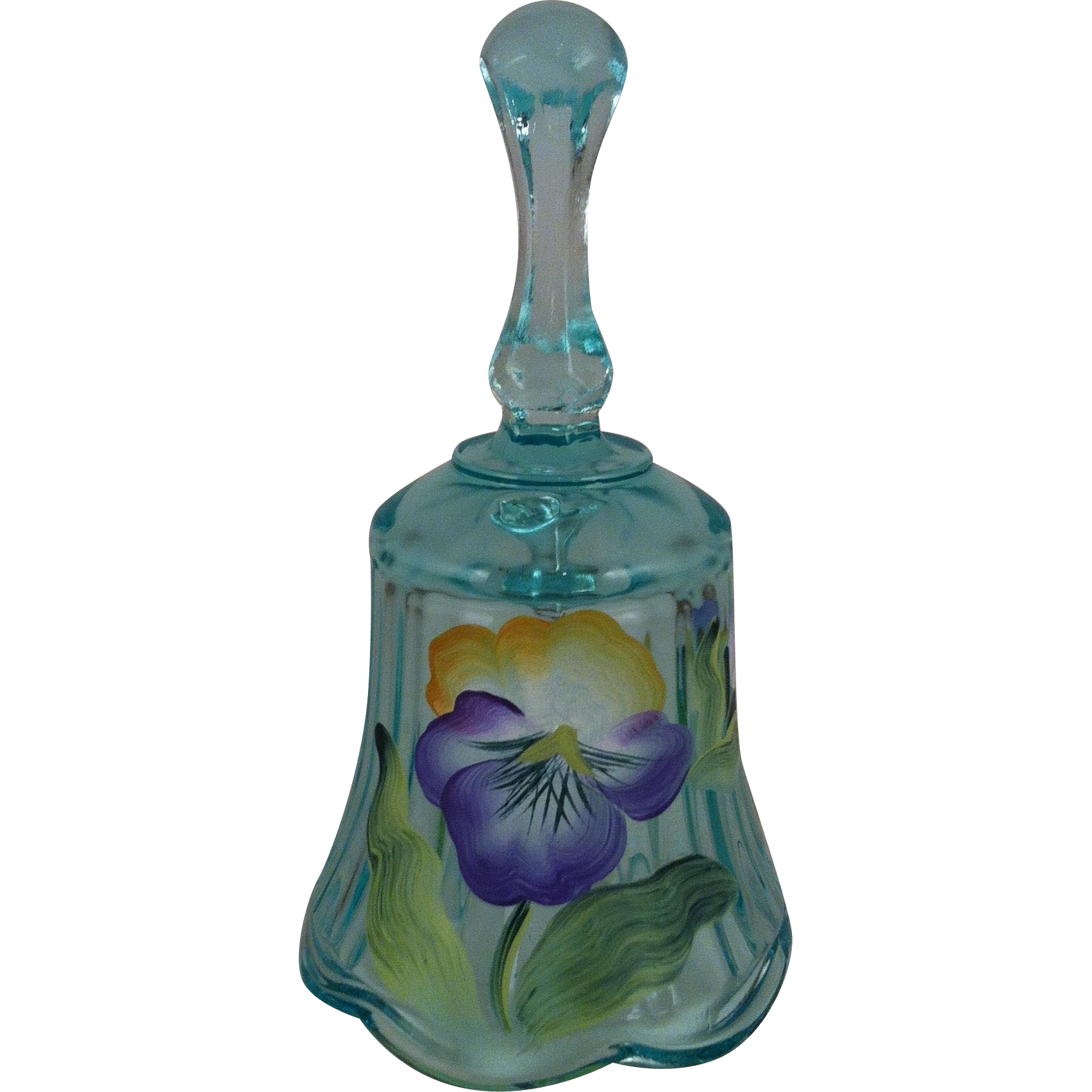 Fenton Hand Painted Pansy  Bell ~ artist signed Cahall