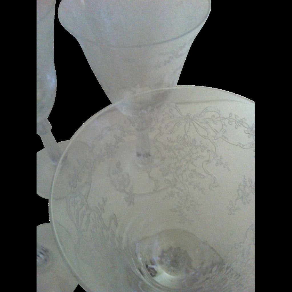 Eight Fostoria Romance Water Stems