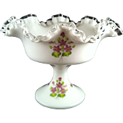 Fenton Silver Crest Violets in the Snow Compote ~ artist signed