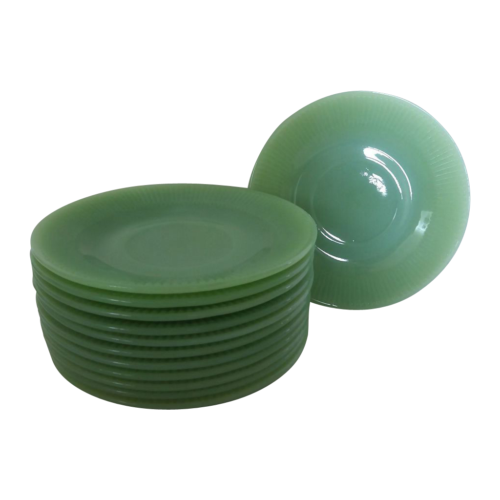 6 Fire King Jadeite Jane Ray Saucers ~  Bullseye Rayed Back