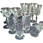 Grey Cut Stemware Service for Four- # 1418