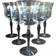 6 Grey Cut Water Goblets ~#1481