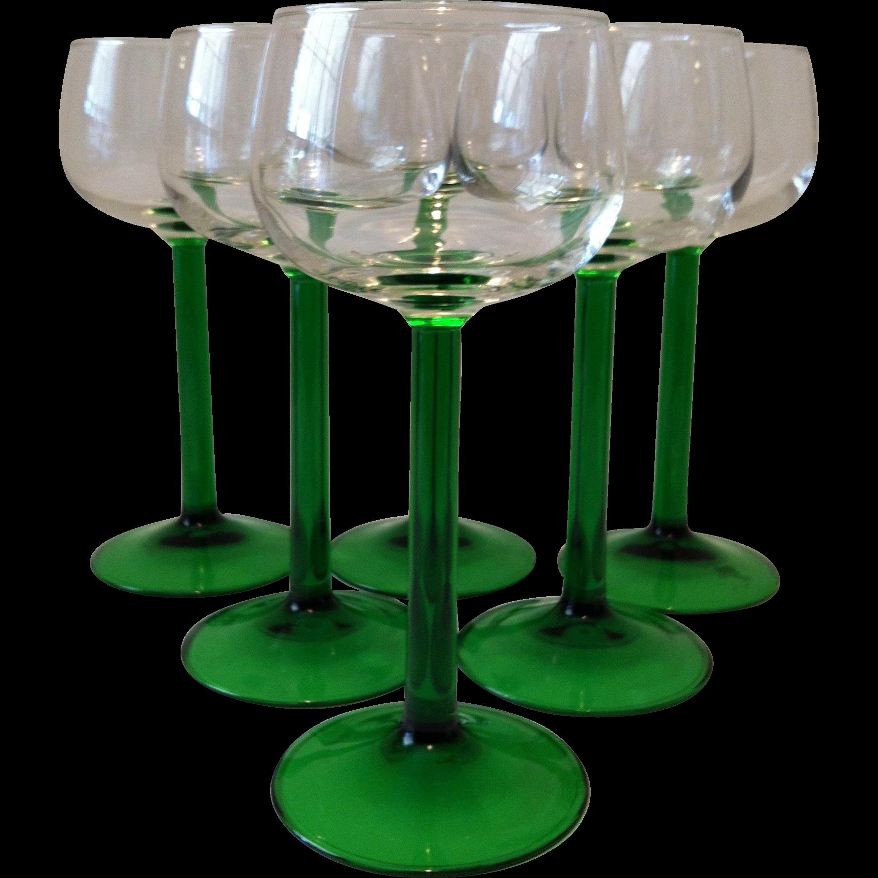 6 Emerald Crystal Wine Glasses ~ Cristal D'Arques ~ France