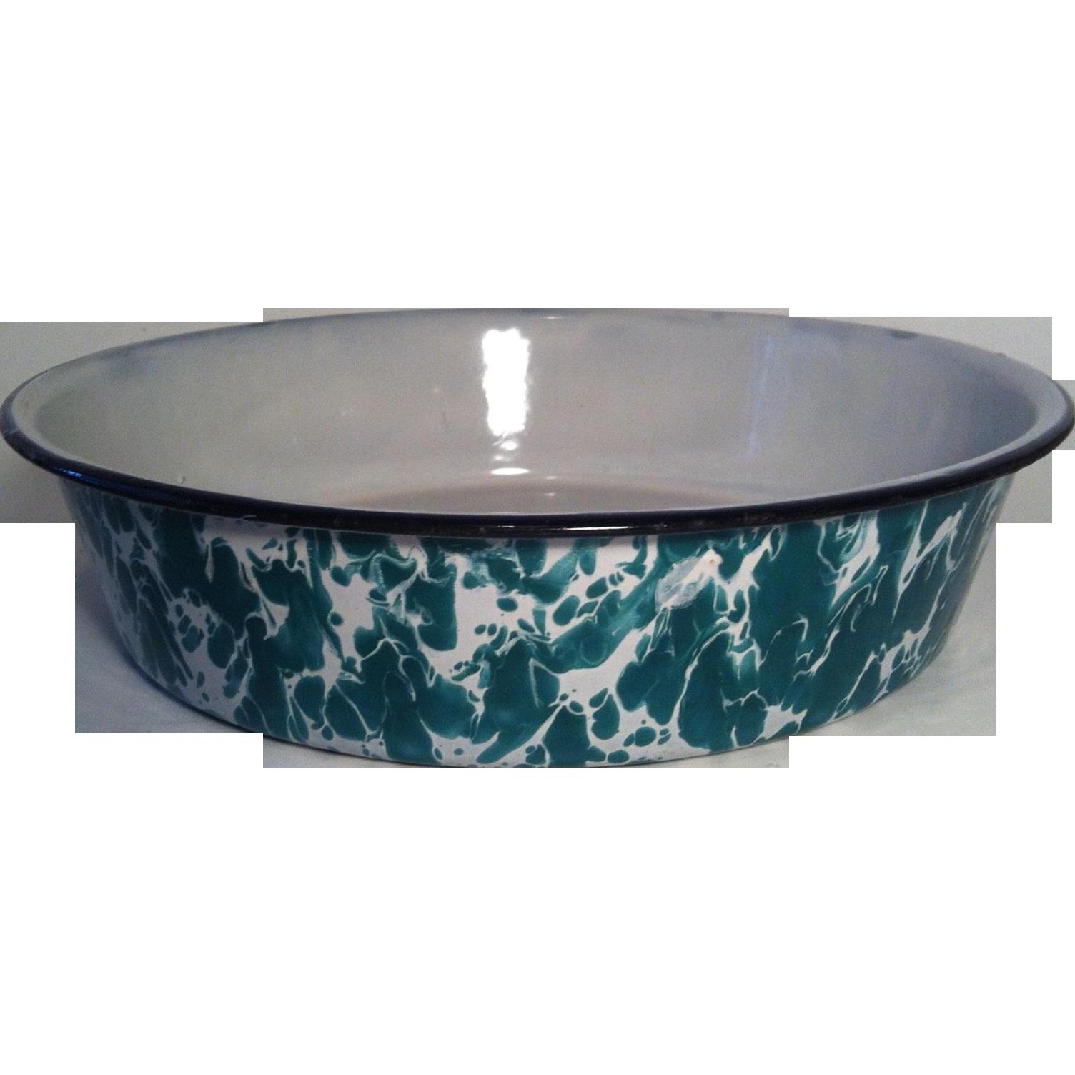 Green & White Enamelware Pan
