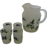 Hazel Atlas Frosted Juice Set Purple Violets - Red Tag Sale Item