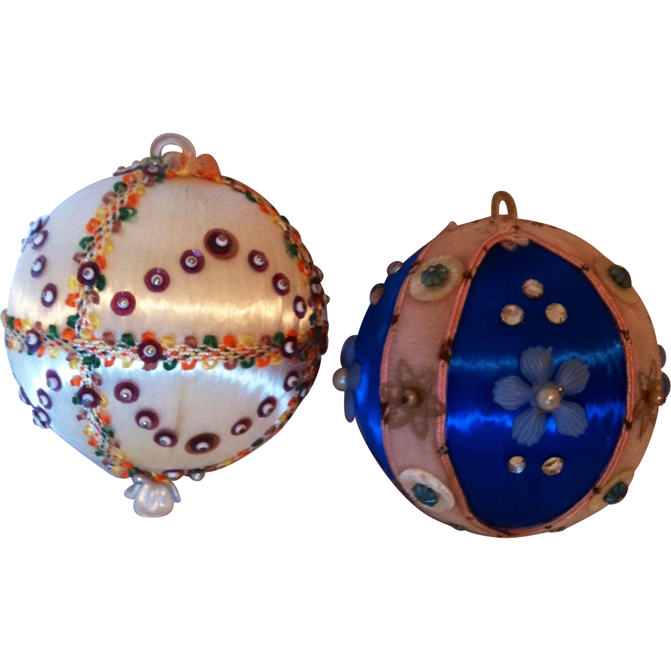 2 Handmade Sequin Christmas Ornaments