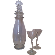 Heisey Rooster Martini Mixer with 2 Glasses