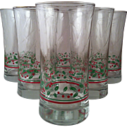 6 Libbey Holly & Berries Iced Tea ~ 1987 Arby's Christmas Collection