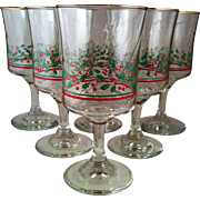 Libbey 6 Holly & Berries Water Goblets ~ Arby's Christmas Collection