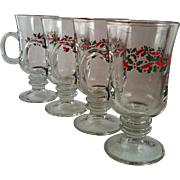 4 Libbey Holly & Ribbon Irish Coffee Mugs