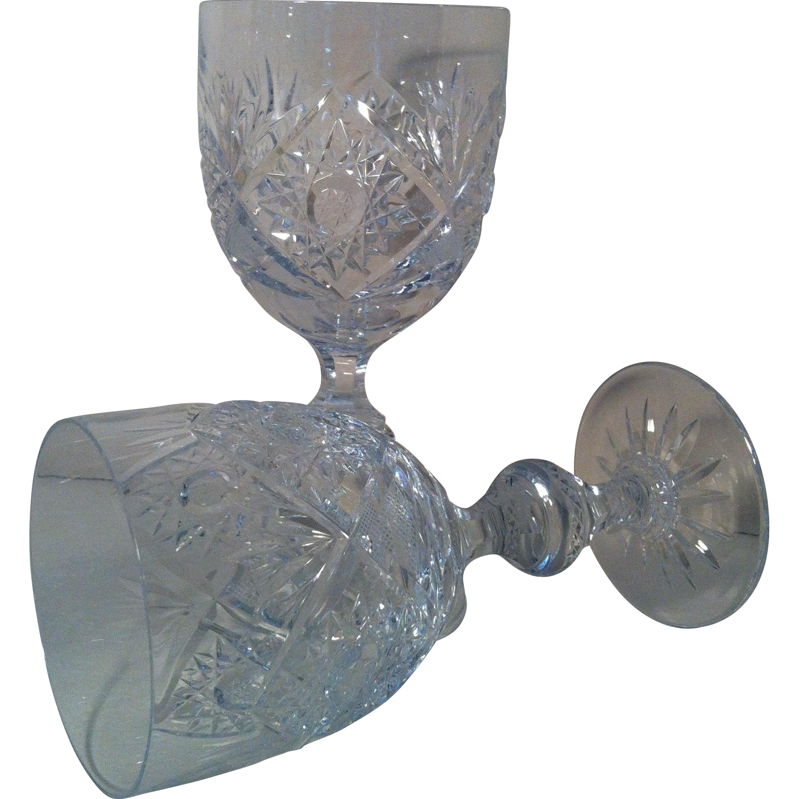 2 Edinburgh Crystal Water Goblets by Imperial Crystal Imports