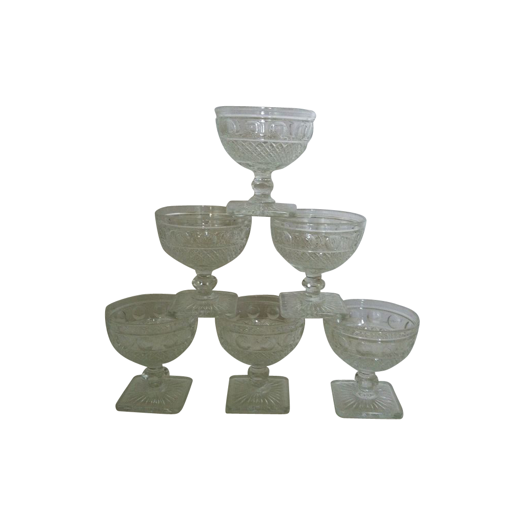 Imperial glass Tradition  Square Footed Sherbets