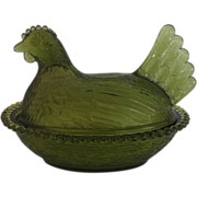 Olive Green Hen On Nest by Indiana Glass