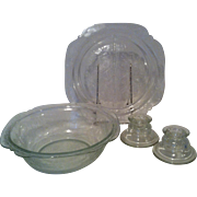 Indiana Recollection Madrid Clear Bowl, Grill Plate , Candle Holders