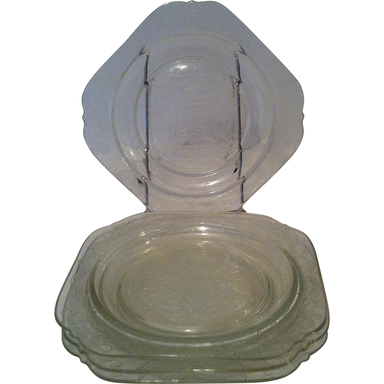 4 Indiana Recollection Clear Madrid Salad Plates