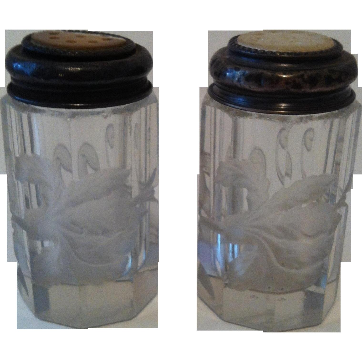 Early 1900's Intaglio Iris Salt & Pepper ~