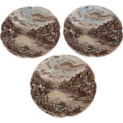 3 Saucers Olde English Countryside by Johnson Brothers